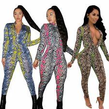 99cbc8f2e6e5 Women Long Sleeve Zipper Jumpsuit Snake Skin Print Bodysuit Catsuit Clubwear