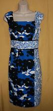 Maggy L women's black blue white floral zip church career dress sleeveless $120