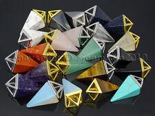Natural Gemstones Pyramid Pointed Reiki Chakra Healing Pendant Charm Beads Mix