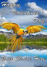 Macaw Parrot SAN VALENTINO PERSONALIZZATO greeting card pid804 MARITO MOGLIE LOVE