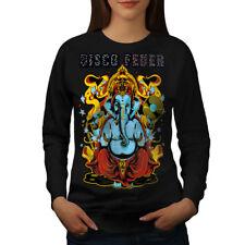 Wellcoda Disco Fever Elephant Womens Sweatshirt, Ganesha Casual Pullover Jumper