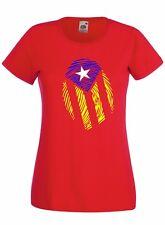 T-shirt Maglietta donna J2304 Bandiera Catalogna Impronta Catalunya Indipendenza
