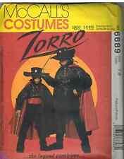 6689 UNCUT Vintage McCalls SEWING Pattern Boys Men Halloween ZORRO Costume OOP