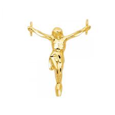 -Christ Crucifix Cross Polish Necklace Charm 14K Solid Yellow Gold Jesus Pendant
