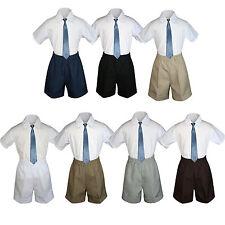 3pc Baby Boys Toddler Formal Dark Gray tie, White Navy Black Khaki Shorts Set