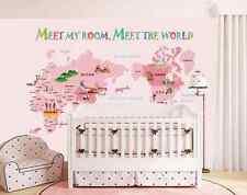 3D Dream Pink Cute World Map Wall Paper Wall Print Decal Wall Deco AJ WALLPAPER
