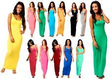 Women Ladies Jersey Long Summer Vest Racer Muscle Back Maxi Dress Plus Size 6-26