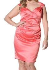 Suzi Women's Plus Size Sexy Stretch Satin Rouching Wrap Dress 357 Red Papaya