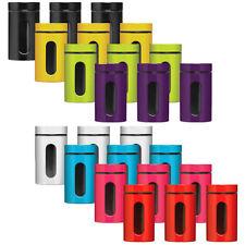 Tea Coffee Sugar Storage Jars Canisters Set Of 3 Colour Enamel On Steel Glass
