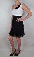 One Shoulder Sommer Kleid schwarz creme XS S M Viskose Netz am Rock teil 737 neu
