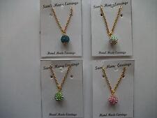 Chrystal Shamballa Disco Ball Necklace Hand Made