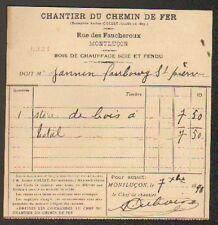 """MONTLUCON (03) BOIS de CHAUFFAGE """"CHANTIER DU CHEMIN DE FER"""" en 1890"""