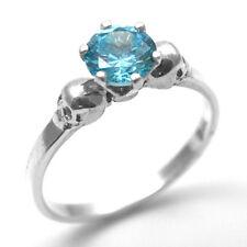 Skull Ring Silver 1ct Aquamarine Diamond-Unique Hand Crafted  Engagement Ring