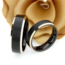 Tungsten Wedding Band Set 8mm, 6mm, Brushed Black Top Rose Ton Tungsten Ring Set