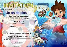 5 - 12 ou 14 cartes invitation anniversaire Yo-kai watch REF 350