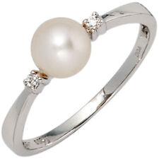 Damenring Ring, Perle & Diamanten Brillanten, 585 Gold Weißgold, Damen, Goldring
