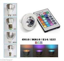 FARETTO LED LUCE RGB PROGRAMMABILE MULTICOLOR E27 GU10 E14 MR16 CON TELECOMANDO