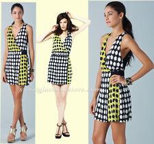 $365 Diane Von Furstenberg Moriko Pow Black Yellow Silk Jersey Faux Wrap Dress