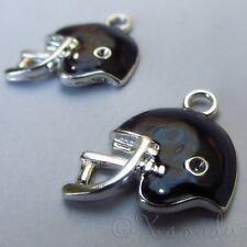 Football Helmet Wholesale Silver Plated Enamel Charms C5674 - 2, 5 Or 10PCs