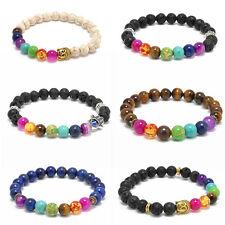 7 Chakra Healing Reiki Prayer Bead Charm Natural Stone Lava Agate Mala Bracelets