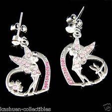 Pink w Swarovski Crystal ~Tinkerbell Love Heart~~ Dragonfly fairy ANGEL Earrings