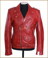 Brando Slim Fit Rojo Para Hombres Estilo Motociclista Motocicleta Real Piel De Cordero Cuero Chaqueta