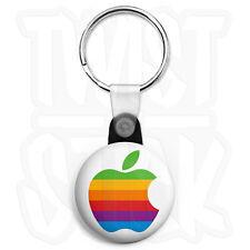 Apple - Mac Rainbow Logo - Keyring Button Badge - 25mm Keyrings, Zip Pull Option