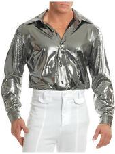 Mens Metallic Shiny Nailhead Silver 70s Disco Shirt Costume Acessory