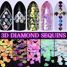 3D DIAMOND SEQUINS NAILS CRYSTALS Chameleon Paillette Shape Nail Sparkle Glitter