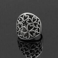 XL Ring Damenringe Fingerringe Breit 2,5 cm Klee Versilbert Paris Blumen Strass