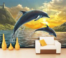 3D Jumping Dolphins 020 WallPaper Murals Wall Print Decal Wall Deco AJ WALLPAPER