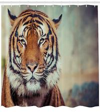 Tiger Shower Curtain Large Calm Wild Cat Blur Print for Bathroom