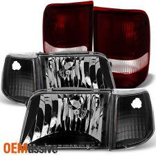 1993-1997 Ford Ranger Black Headlights+Corner Signal+Dark Red Tail Lights Lamps