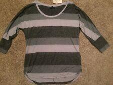 NWT AMERICAN EAGLE Scoop Neck Silver Sparkle Dolman Sleeve Shirt Blk/Gray