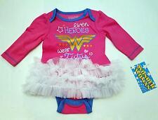 WONDER WOMAN DC COMICS Baby Infant Toddler ONE PIECE BODYSUIT TUTU SKIRT 3 6 9 M
