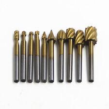 Carbide Burr Set 10pc HSS Titanium Rotary File Burs Carving Grinding Bits Cutter