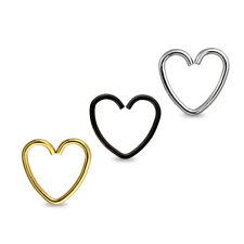 20GA Heart Shape 316L Surgical Steel Nose Hoop Ring 10mm Black Gold Silver