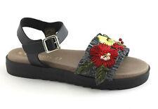CAFè NOIR FB931 nero sandali donna fasca cinturino fiori