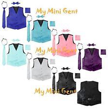 Boys Formal 4 Pieces Satin Vest Set Toddler Kids Vest Tie Bow Tie Pocket Square