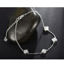 Solid 18K White Gold Natural Diamond Engagement Wedding Women's Bracelet