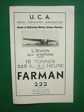 8/1935 PUB UCA AERONAUTIQUE AVION FARMAN 222 BLERIOT MIUREAUX ORIGINAL ADVERT