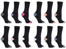 3 pairs Ladies SockShop Cotton Gentle Grip 4-8 uk Socks - Contrast Heel & Toe