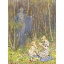 Gathering Primroses - M W Tarrant Print