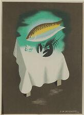 Original Vintage Print A.M. Cassandre Fish Seafood Maison Prunier Menu Card 30s