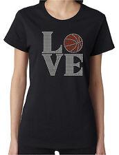 Love Basketball Rhinestone Women's Short Sleeve Shirts Sports Hoops