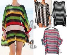 AU SELLER Women Stripe Chiffon Kaftan Long Top Bikini Cover Up Beach Dress sw041