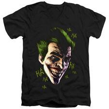 Batman Arkham Origins Slim Fit V-Neck T-Shirt Joker Grin Ha Ha Black