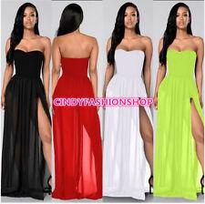 New Summer Women Strapless Side Slit Long Dress Sexy Club Wear Party Maxi Dress