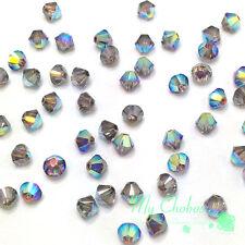 Crystal AB Satin (001 AB SAT) Swarovski Elements 5328 / 5301 3mm Bicone Beads