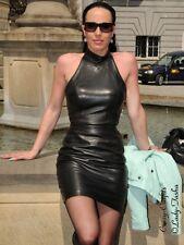Lederkleid Leder Kleid Mini Schwarz Schulterfrei Größe 32 - 58 XS - XXXL